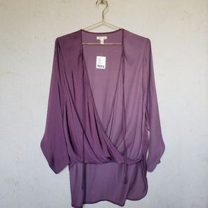 Silence+Noise S purple surplice tie-front boho top
